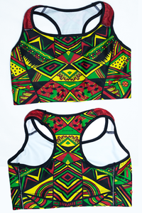 Aztec Triangles Rasta Colors Sports Bra