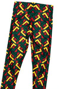 African Pattern Rasta Colors Leggings