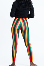 Load image into Gallery viewer, Rasta Colors Striped Leggings