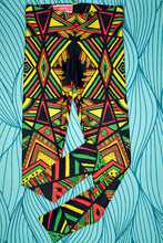 Load image into Gallery viewer, Aztec Triangles - Rasta Color Leggings