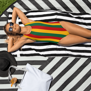 Rasta Striped One-Piece Swimsuit