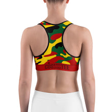 Load image into Gallery viewer, Rasta Colors Camo Sports Bra