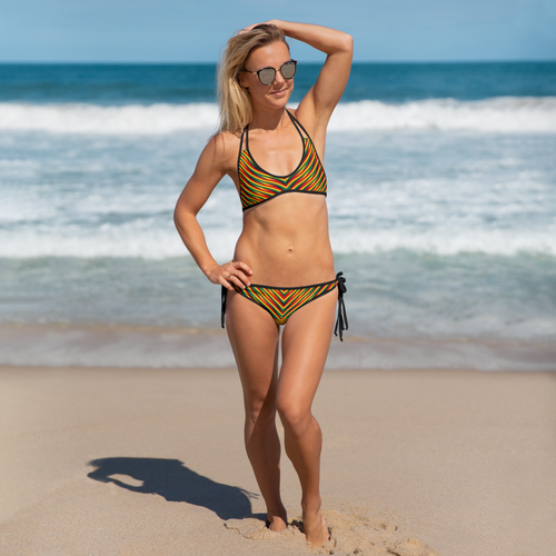 Reversible Side-Tie Bikini Set - Rasta Colors