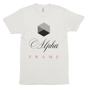 The Alpha Frame scoop neck is crafted using a poly-cotton mix that helps improve softness, but also ensures the product will never lose its touch after multiple uses. The polyester retains shape and elasticity, while the cotton lends both comfort and durability.  Because of these attributes you'll never want to take this shirt off!