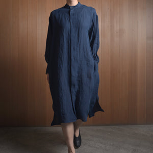 COSMIC WONDER|11CW17211|Beautiful Belgium linen european shirtdress|Navy