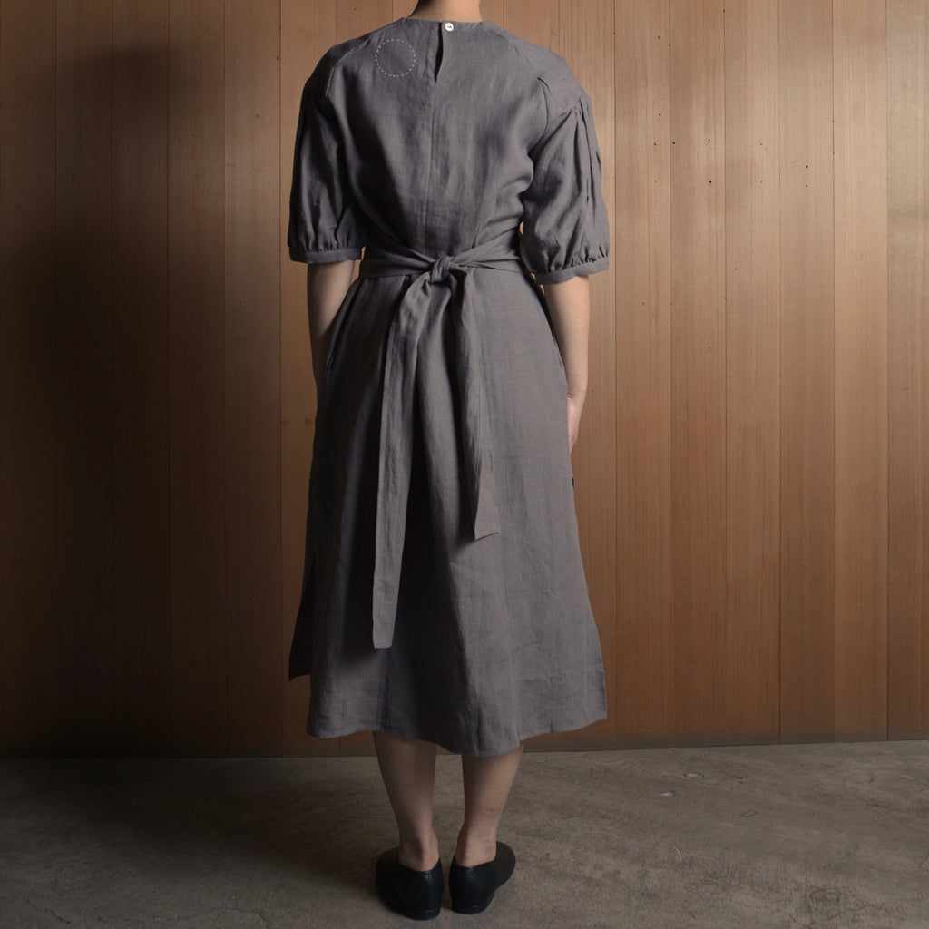 COSMIC WONDER|09CW17192|Japan linen puff sleeve dress|Gray