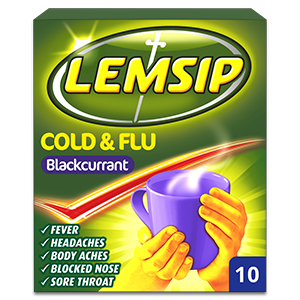 Lemsip Cold & Flu Blackcurrant Powder for Oral Solution 10s