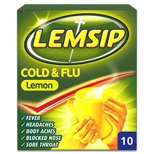 Lemsip Cold & Flu Lemon Powder for Oral Solution 10s
