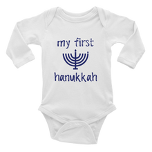 Load image into Gallery viewer, My First Hanukkah Long Sleeve Bodysuit