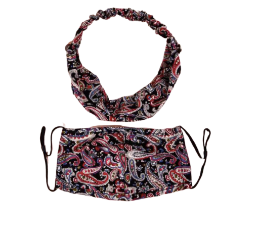 2pc Paisley Face Mask & Headband Set