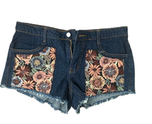 Load image into Gallery viewer, Floral Tapestry Denim Shorts (Juniors)