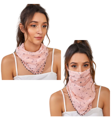 Pink Heart Face Mask / Scarf Combo