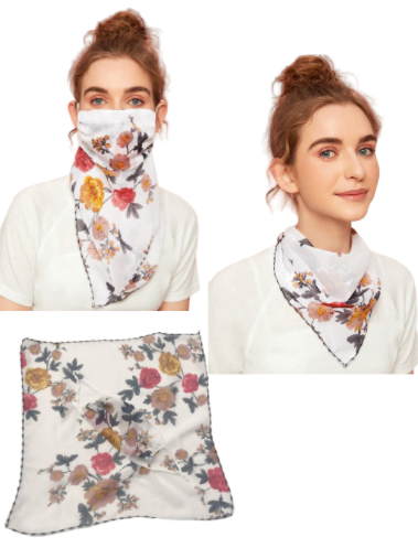 White Floral Face Mask / Scarf Combo