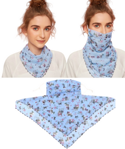 Blue Floral Face Mask / Scarf Combo