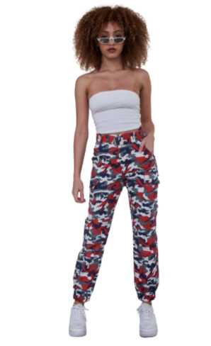 Blue & Red Camo Belted Pants (Juniors)