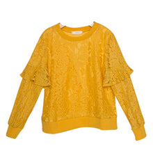Load image into Gallery viewer, GIRLS HONEY FLORAL LACE LONG SLEEVE GOLD SWEATER