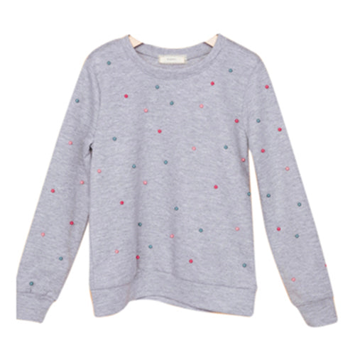 Girls Pearl Detail Long Sleeve Grey Sweater