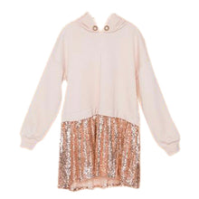 Load image into Gallery viewer, GIRLS IVORY ROSE GOLD SEQUIN LONG SLEEVE COMBO TOP