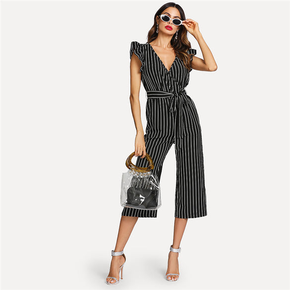 d9c685e3a6ba Vertical Stripe Wrap Women Jumpsuit