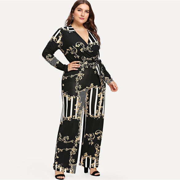90b105398761 Striped Print Belted Women Jumpsuits