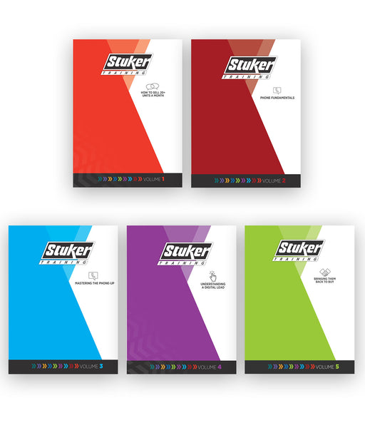 Stuker Training Manual Bundle Vol. 1-5 (How to Sell 20+ Units a Month, Phone Fundamentals, Mastering the Phone Up, Digital Lead Management, Bringing Them Back To Buy)