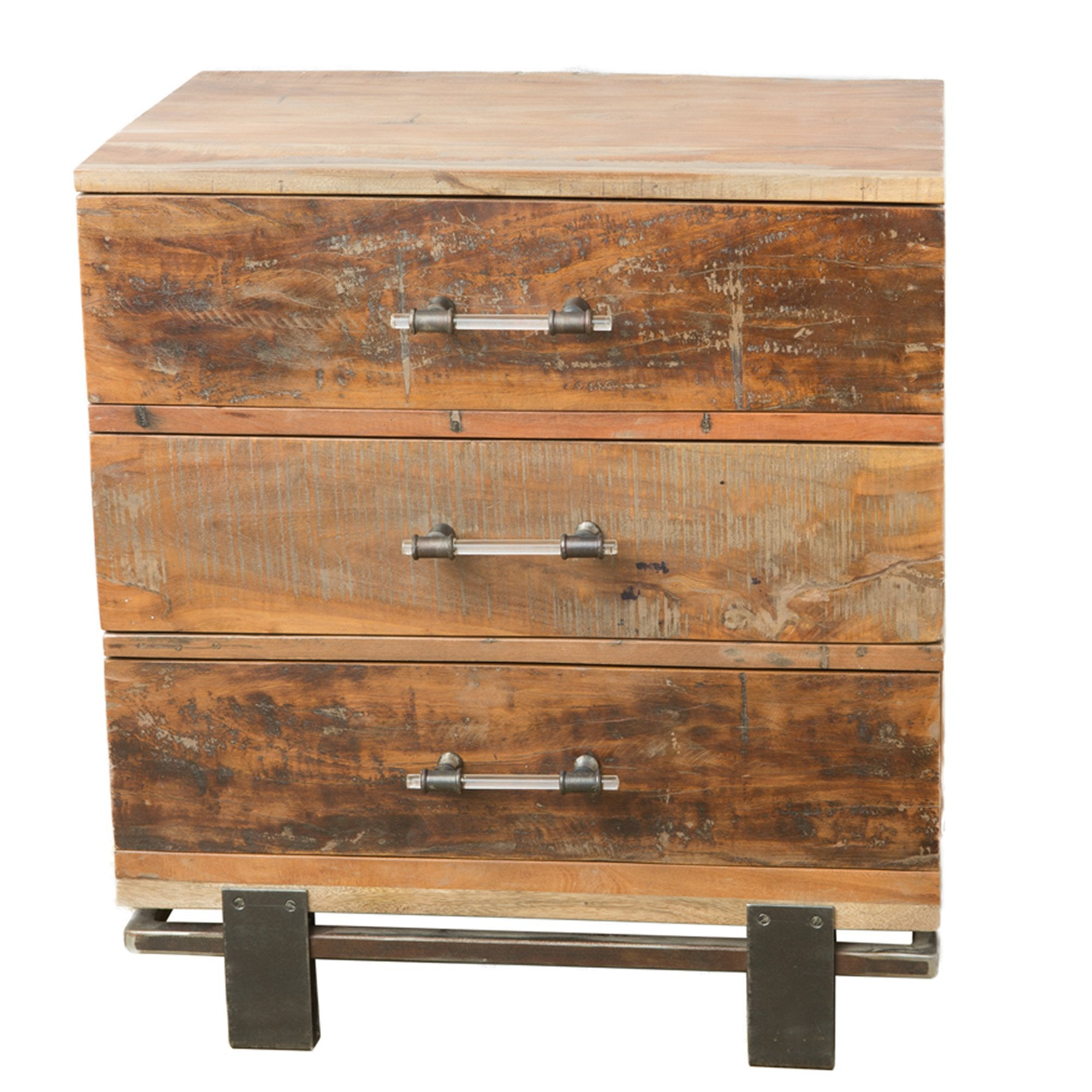 Rustic Industrial Salvage Iron And Wood Nightstand