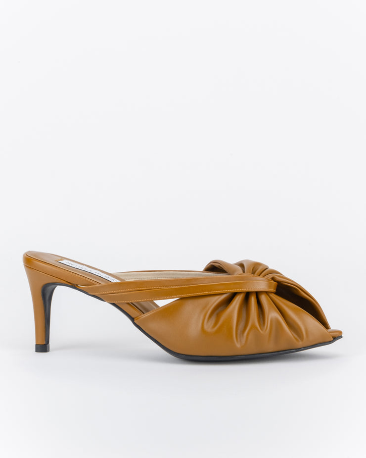 Azalea Ruched Heel Mules (Saddle Brown)