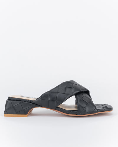 Zaynab Criss-Cross Low Block Heels (Nero)