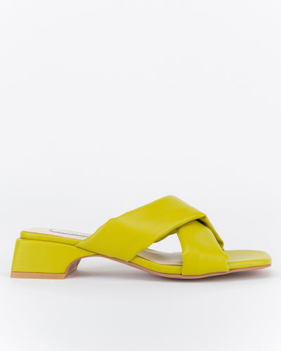 Zaynab Criss-Cross Low Block Heels (Golden Olive)