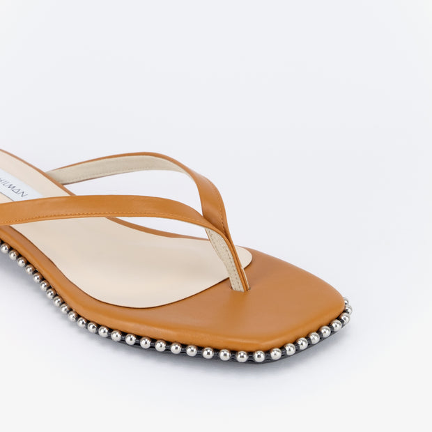 Bintang Studded Flat Sandals (Saddle Tan)