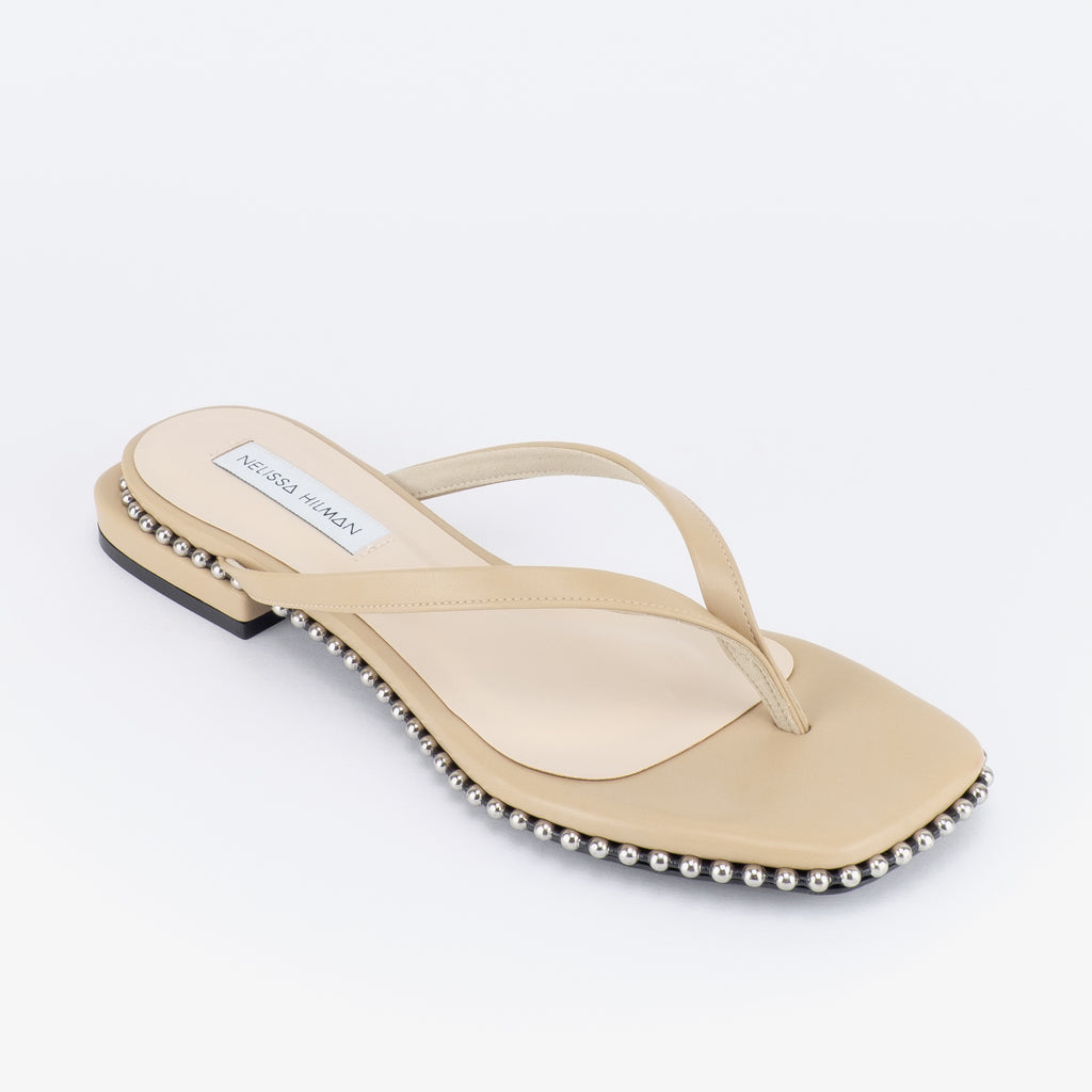 Bintang Studded Flat Sandals (Warm Taupe)