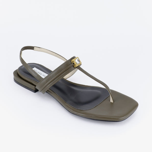 Dara Embellished Thong-Strap Sandals (Military Green)