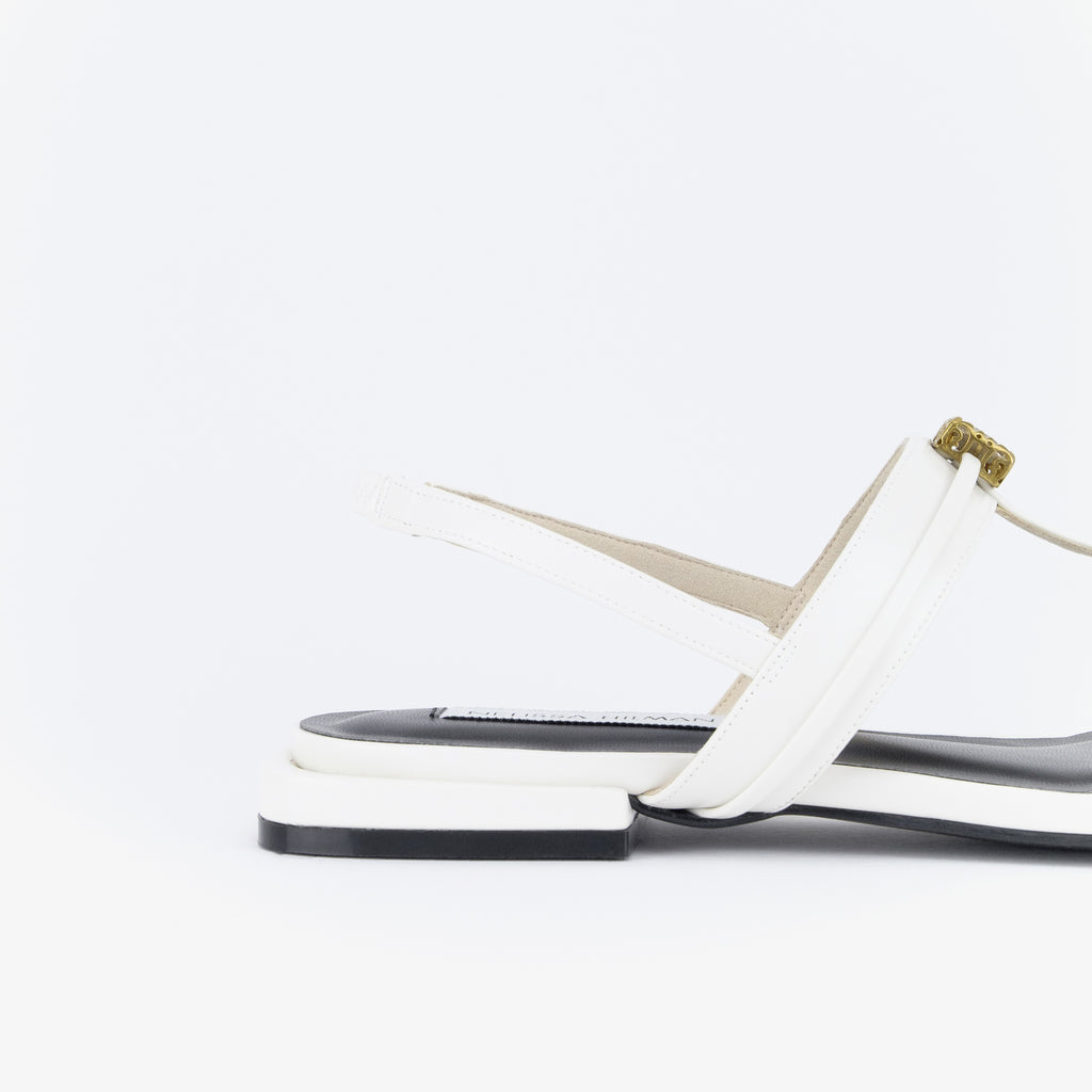 Dara Embellished Thong-Strap Sandals (White)