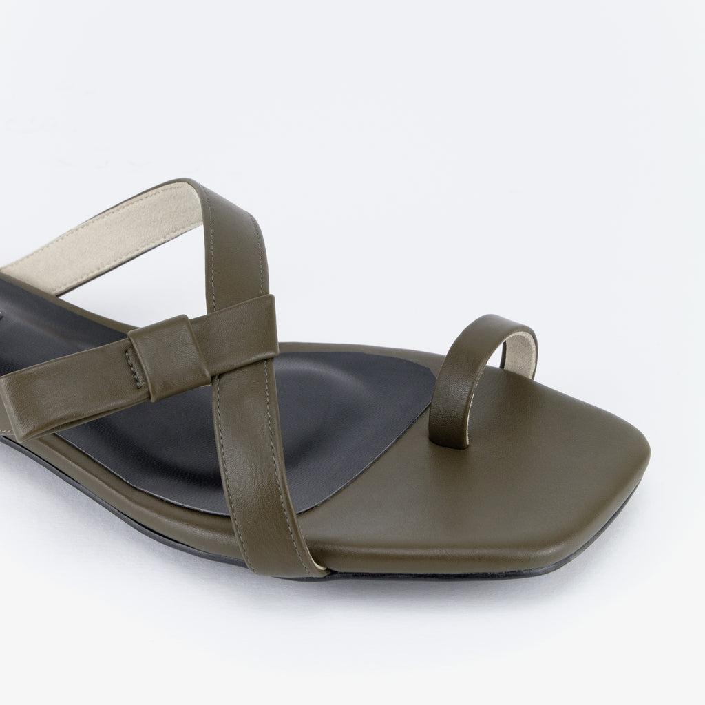 Delima Bow Flat Sandals (Military Green)