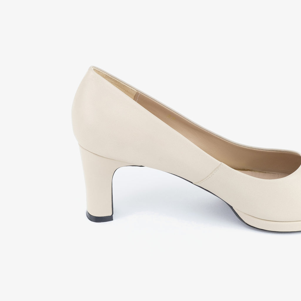 Donna Leather Heels (Taupe) - Nelissa Hilman