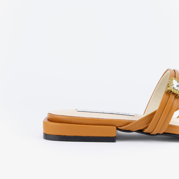 Manja Embellished Strap Sandals (Saddle Tan)