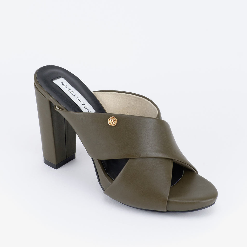Rossa Heel Mules (Military Green)