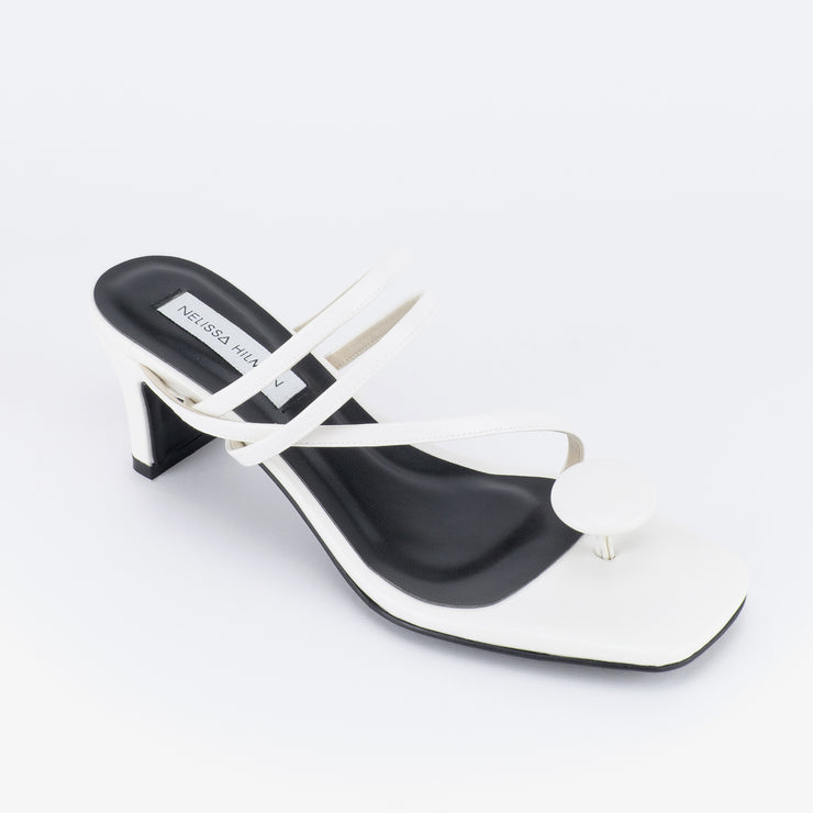 Sarima Oval Point Strappy Heel Sandals (White)