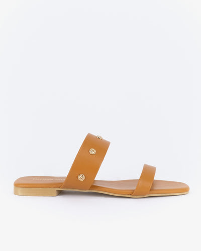 Tessa Flat Sandals (Saddle Tan)