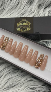 Nearly Naked- Nude Bling press-on nail