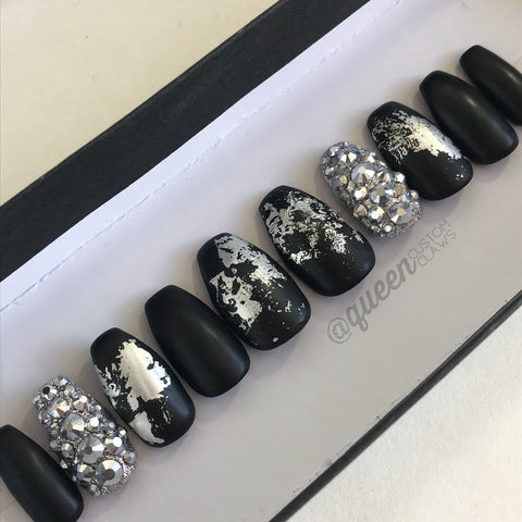 Silver Studded Punk press on nails