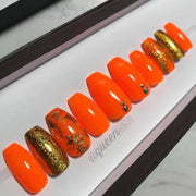 Tropical Tangerine & Gold Holo Foil- press-on nails