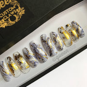 Gold & Marble press-on nails