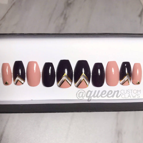 Color Block  Peek-A-Boo: deep plum & nude peach  press on nails