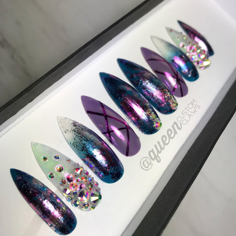 Crystal Foil Ombre Bling press on nails