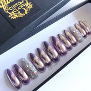 Lavender Chrome w/Crystal Caviar Microbeads- press-on nails