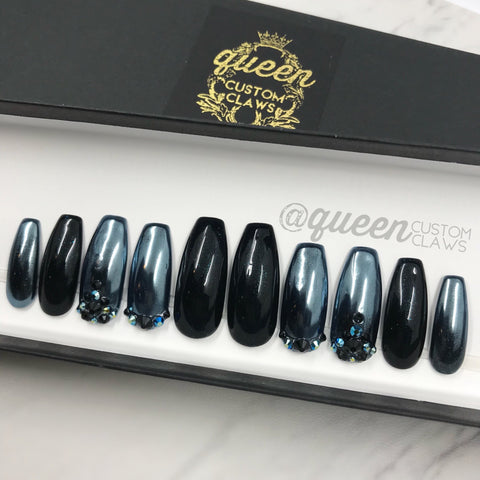 Sparkle Gunmetal Chrome press on nails