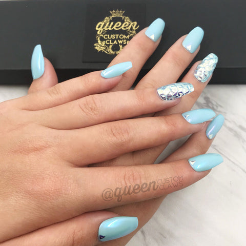 Quilted Disco Ball press on nails