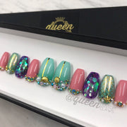 Mermaid Princess Bling press on nails