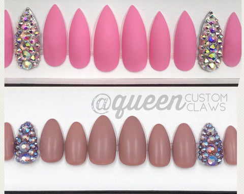Matte & Bling press-on nail